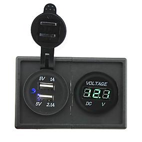 preiswerte Autoteile-12v / 24v 3.1a Dual USB-Buchse und führte Voltmeters mit Panel-Gehäuse Halter für LKW rv Auto Boot