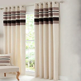 cheap Curtains & Drapes-Country Curtains® Room Darkening Polyester Linen with Pleated Band lined Curtain Two Panel