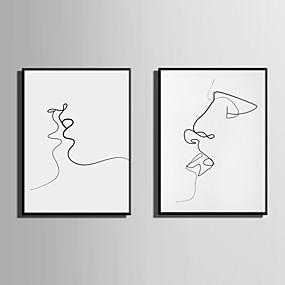 preiswerte Art-Gerahmtes Leinenbild Gerahmtes Set Abstrakt Menschen Wandkunst, PVC Stoff Mit Feld Haus Dekoration Rand Kunst Wohnzimmer Schlafzimmer