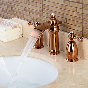 preiswerte Badarmaturen-Waschbecken Wasserhahn - Wasserfall Rotgold 3-Loch-Armatur Zwei Griffe Drei LöcherBath Taps / Messing