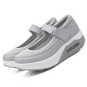 preiswerte Swing Shoes-Damen Sneakers Keilabsatz Runde Zehe Schnalle Tüll Komfort / Leuchtende Sohlen Frühling / Sommer / Herbst Schwarz / Grau / Rosa