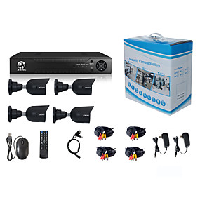 preiswerte AHD Sets-jooan® Sicherheitssystem 4 x 720p wetterfeste tvi Kamera und 1080n 8ch dvr Recorder Unterstützung ahd / tvi / cvi / cvbs
