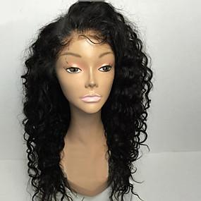 abordables Curly Lace Wigs-Peluca Pelo Natural Encaje Frontal Cabello Brasileño Rizado Naturaleza Negro Parte lateral Mujer Densidad 130% 8-30 pulgada con pelo de bebe Ajustable Entradas Naturales Nudos blanqueados Juvenil