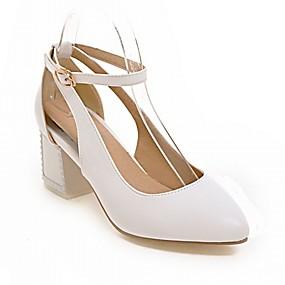 levne Větší obuv-Dámské Boty PU Koženka Syntetika Jaro Léto Novinky Pohodlné Podpatky Chůze Kačenka Block Heel Palec do špičky Přezky pro Svatební