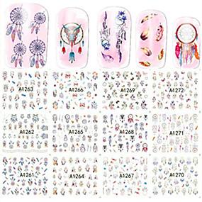 preiswerte Wassertransfer Aufkleber-1pcs 12 design Wassertransfer Aufkleber Nagel Kunst Maniküre Pediküre Modisch Alltag