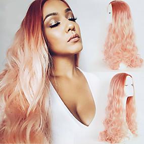 preiswerte OUO®-Synthetische Lace Front Perücken Große Wellen Große Wellen Spitzenfront Perücke Rosa Lang Sehr lang Rosa Synthetische Haare Damen Natürlicher Haaransatz Rosa OUO Hair