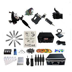 cheap Professional Tattoo Kits-BaseKey Professional Tattoo Kit Tattoo Machine - 2 pcs Tattoo Machines, Professional Alloy 20 W LED power supply 1 rotary machine liner & shader / 1 alloy machine liner & shader / Case Included