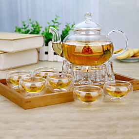cheap Coffee and Tea-8pcs Glass Teapot Set Heatproof ,  8.5*8.5*12.5