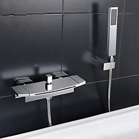 preiswerte Badewannen Armaturen-Badewannenarmaturen - Moderne Chrom Badewanne & Dusche Keramisches Ventil Bath Shower Mixer Taps / Zwei Griffe Zwei Löcher