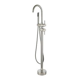 preiswerte Badewannen Armaturen-Badewannenarmaturen - Moderne Gebürsteter Nickel Romanische Wanne Keramisches Ventil Bath Shower Mixer Taps / Zwei Griffe Ein Loch