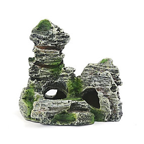 cheap Aquarium Décor & Gravel-Fish Tank Aquarium Decoration Fish Bowl Ornament Rocks Rock Outcrop Random Color Artificial Resin 1 pc 11*10 cm