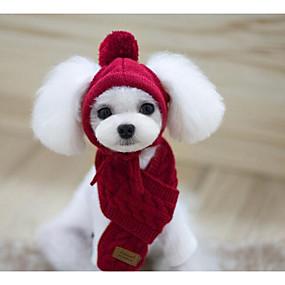 preiswerte Vorräte für Hund-Hund Bandanas & Mützen Hundeschal Winter Hundekleidung Rot Dunkelblau Grau Kostüm Baumwolle Solide warm halten S M