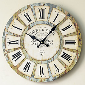 cheap Rustic Wall Clocks-Retro / Traditional / Country Wood Round Holiday / Music / Family Indoor / Outdoor / Indoor Decoration Wall Clock