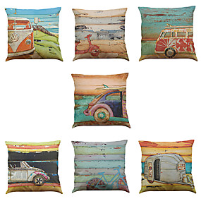 cheap Slipcovers-Set of 7 Linen Pillow Cover Pillow Case, Solid Colored Novelty Textured Casual Modern Contemporary Throw Pillow