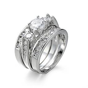 olcso eljegyzés-Női Ékszer készlet Gyűrű Eljegyzési gyűrű Kocka cirkónia Szintetikus gyémánt Fehér Cirkonium Kocka cirkónia Acél Európai Elegáns Esküvő Évforduló Ékszerek