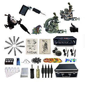 cheap Professional Tattoo Kits-BaseKey Professional Tattoo Kit Tattoo Machine - 4 pcs Tattoo Machines, Professional Alloy 19 W LED power supply 1 rotary machine liner & shader / 3 alloy machine liner & shader / Case Included
