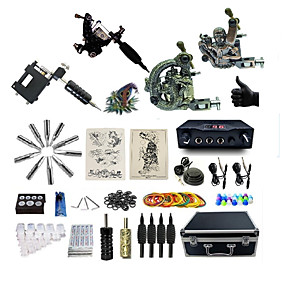 cheap Professional Tattoo Kits-BaseKey Professional Tattoo Kit Tattoo Machine - 4 pcs Tattoo Machines, Professional Alloy 19 W LED power supply 1 steel machine liner & shader / 1 rotary machine liner & shader / 3 alloy machine