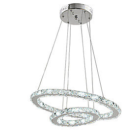 cheap Dimmable Ceiling Lights-2 Rings 60 cm Crystal Dimmable LED Chandelier Pendant Light Metal Circle Electroplated Modern Contemporary 110-120V 220-240V