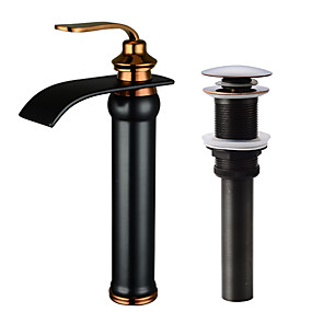 cheap Faucet Sets-Refined, high-end, Beautiful Waterfall Oil-rubbed Bronze Centerset Single Handle One HoleBath Taps-Faucet Set