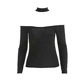 preiswerte yeshidon-Damen Solide Baumwolle T-shirt, Bateau Schwarz / Herbst / Halsband