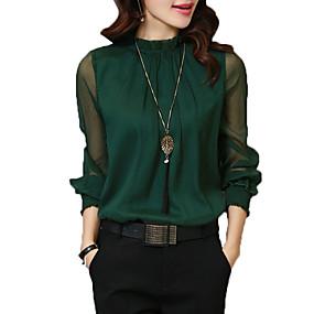 preiswerte Fashion & Clothing-Damen Solide - Grundlegend Arbeit Hemd, Ständer Lantern Sleeve Weiß