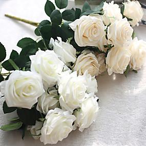 preiswerte Up To 80% Off For Home Decor-Künstliche Blumen 1 Ast Europäischer Stil Rosen Tisch-Blumen
