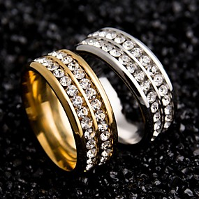 olcso Évforduló-Női Páros gyűrűk forgó gyűrű Kristály Fekete Arany Ezüst Rozsdamentes acél Cirkonium Kör hölgyek Egyedi Esküvő Parti Ékszerek