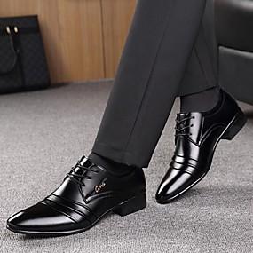 cheap Men's Oxfords-Men's Formal Shoes Microfiber Spring / Fall Business Oxfords Walking Shoes Black / Lace-up / Split Joint / Comfort Shoes / EU40