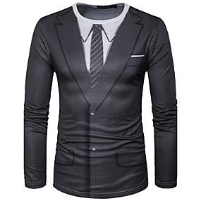 cheap Athleisure Wear-Men's T shirt Shirt Graphic Simulation Print Long Sleeve Daily Tops Streetwear Round Neck Black / White White / Black Black / Sports