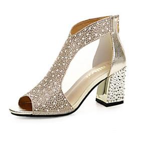 preiswerte Sapatos-Damen Sandalen Kristall Sandalen Flacher Absatz PU Komfort Frühling Gold / Silber / EU39