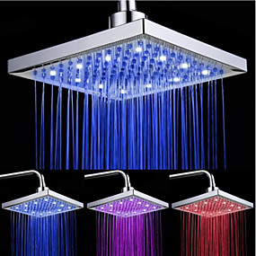 cheap Faucets-LED Tricolor Luminous Color Top Spray Shower Head With  Temperature /9 Inch Water Booster Top Spray (ABS Plating)
