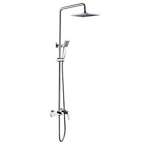 preiswerte Renovierung-Duscharmaturen - Art déco / Retro Chrom Wandmontage Keramisches Ventil Bath Shower Mixer Taps / Messing / Zwei Griffe Zwei Löcher