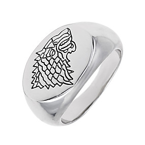 cheap Movie Night-Band Ring Signet Ring White Alloy Circular Geometric Unique Design Vintage Euramerican Special Occasion Halloween Jewelry Geometrical Logo Animal Wolf
