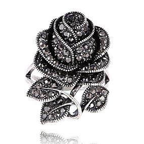 billige Vintage Ring-Dame Statement Ring Ring Svart Strass Sinklegering damer Personalisert Vintage Fest Spesiell Leilighet Smykker Blomst Blomst