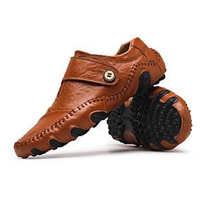 voordelige Wijdere maten schoenen-Heren Rijdende schoenen Leer Herfst / Winter Loafers & Slip-Ons Zwart / Bruin / Gesp / EU40