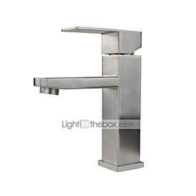 cheap Bathroom Sink Faucets-Contemporary Art Deco/Retro Traditional Standard Spout Vessel Rain Shower Widespread Ceramic Valve Single Handle One Hole Stainless Steel