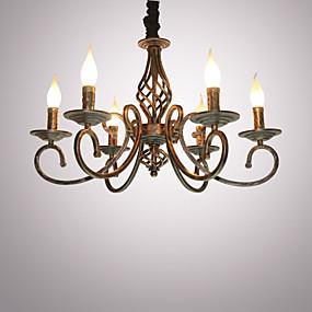 povoljno Stropna svjetla i ventilatori-6-Light Svijeća stilu Lusteri Ambient Light Slikano završi Metal svijeća Style 110-120V / 220-240V Bulb not included / E12 / E14