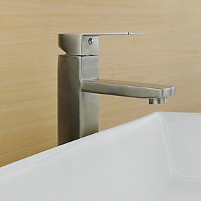 cheap Bathroom Sink Faucets-Art Deco/Retro Modern Country Standard Spout Vessel Rain Shower Widespread Ceramic Valve Single Handle One Hole Stainless Steel, Bathroom