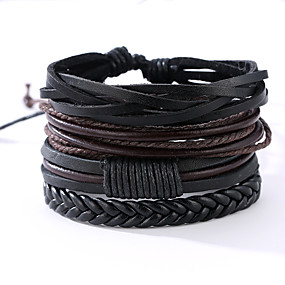 cheap Men's Jewelry Top Sellers-4 PCS Men's Wrap Bracelet Leather Bracelet Rope Vintage Punk Paracord Bracelet Jewelry Black / Silver Leaf / Abstract Pattern For Anniversary Gift Sports Valentine