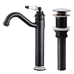 cheap Faucet Sets-Faucet Set - Widespread / Rotatable Oil-rubbed Bronze Centerset Single Handle One HoleBath Taps