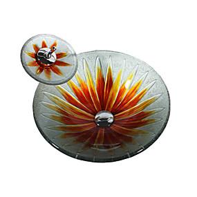 preiswerte Kitchen & Bathroom-Waschbecken für Badezimmer Moderne - Hartglas Rundförmig Vessel Sink