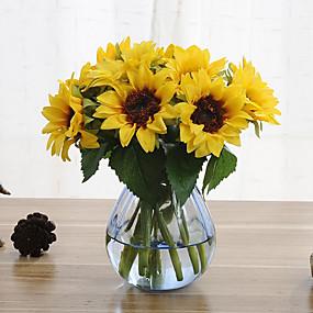 رخيصةأون فناء المنزل-6 فروع عباد الشمس الزهور الاصطناعية المنزل الديكور الزفاف العرض