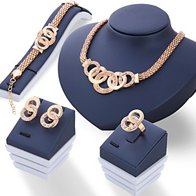 cheap Special Moments-Women's Jewelry Set Ladies Unique Design Italian Rhinestone Earrings Jewelry Gold / Silver For Wedding Party Daily / Rings / Necklace