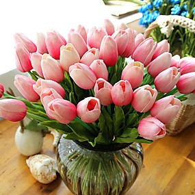cheap Patio-Tulip Artificial Flowers 10 Branch Modern Style Tulips Tabletop Flower