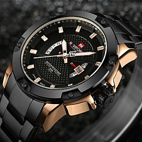 cheap Brand Watches-NAVIFORCE Men's Sport Watch Military Watch Wrist Watch Japanese Quartz Stainless Steel Black / Silver 30 m Water Resistant / Waterproof Calendar / date / day Creative Analog Charm Luxury Vintage