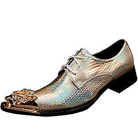 levne Větší obuv-Pánské Společenské boty Nappa Leather Jaro / Podzim Vintage Oxfordské Zlatá / Party / Party / Venkovní