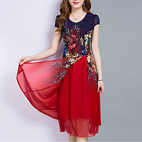 preiswerte Fashion & Clothing-Damen Übergrössen Ausgehen Chiffon Kleid - Mehrlagig Druck, Blumen Midi Knielang