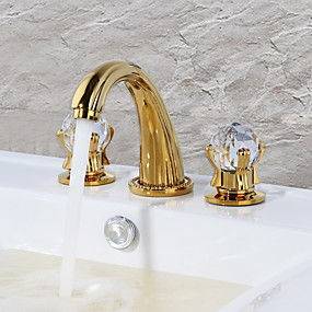 preiswerte Armaturen für Waschbecken-Waschbecken Wasserhahn - Wasserfall Golden Mittellage Zwei Griffe Drei Löcher