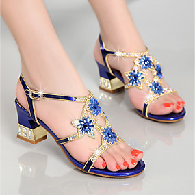 cheap Top Sellers-Women's Sandals Chunky Heel Rhinestone  PU(Polyurethane) Summer Gold / Purple / Blue / Party & Evening / Party & Evening / EU40