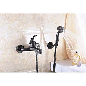 cheap Bathtub Faucets-Bathtub Faucet - Antique Oil-rubbed Bronze Centerset Ceramic Valve Bath Shower Mixer Taps / Brass / Single Handle Two Holes